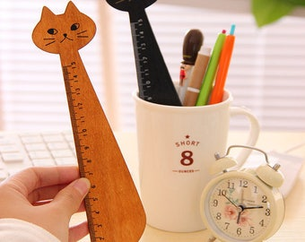 Vintage style wooden ruler Miranda cat