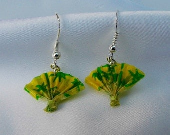 "Japanese Washi Origami Earrings - ""Sensu"" Folding Fan, Yellow and Green, Water-resistant"