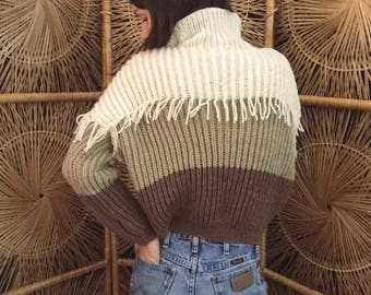 Vintage Handmade Cream & Brown Soft-Knit 70s Ombré Sweater Size Small