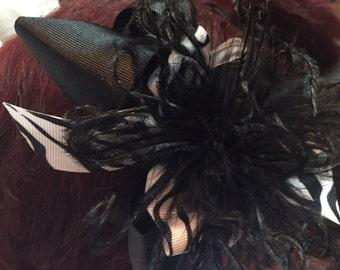 Hair Bow~Black Hair Bow~ Zebra Print Hair Bow~ Ostrich Feather Hair Bow