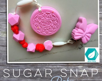 Silicone pink oreo teether - bpa free - chew toy - bite toy - toddler toy - newborn gift - baby gift - silicone toy