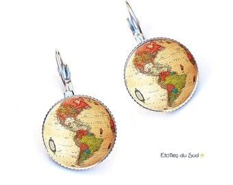 Boucles d'oreilles mappemonde, voyage, planète, cabochons /ref.234
