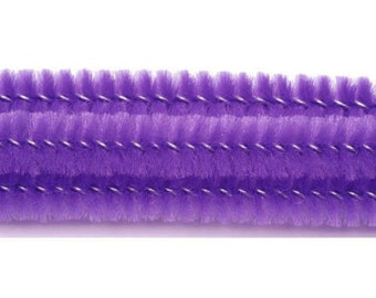 25, 6mm, Lavender Chenille Stems, Pipe Cleaners, 12'' Long