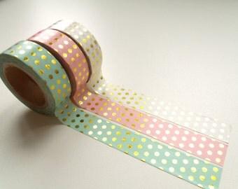Masking Tape Washi Tape tape pink dots gold 10 m