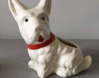 Vintage Planter- Scotty Dog- Vintage Kitsch- Hand Painted Pottery
