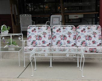 Mid Century Sectional Sofa, Coffee Table, 2 Tier Side Table Patio Set