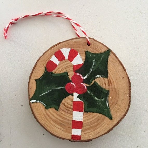 Candy Cane Painted Wood Christmas Ornament - Wood Slice Ornament - Hand Painted Christmas Ornament