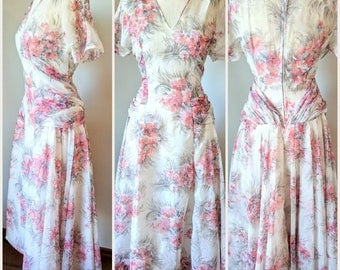 Late 1940s/Early 1950s Floral Dress