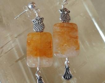 Owls & Orange Calcite Drop Earrings