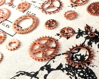 Steampunk cogs gears 5 copper charms vintage style jewellery supplies C166