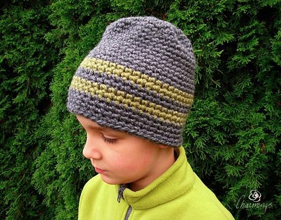 The Owen Striped Skull Cap, Crochet Boy's Hat, Men's Hat, Striped Ski Hat, Grey and Green Hat, Boy's Hat, Unisex Hat