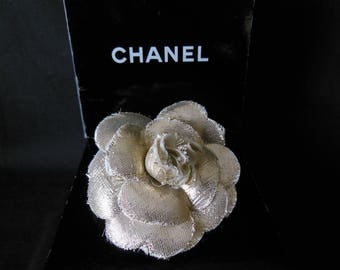 Signed Vintage Chanel Metallic Gold Camellia Corsage Pin Brooch in Box