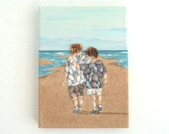 Best Buddies in Seashell Mosaic on Sand