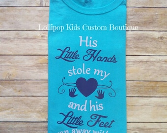 Little hands, little feet WHITE short sleeve shirt. (Please message me first prior to purchase to request a different color tee or wording)