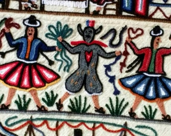 Matrimonio wool tapestry multicolor ethnic boho decorator rustic vintage embroidered 44x68 Peruvian folk art South American wedding gift