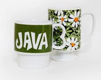 Retro Coffee Mugs Vintage Stacking JAVA Mug | Retro Flower Power Coffee Mug | The Perfect Pair of Retro Coffee Mugs