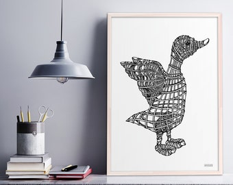 Intricate Black and White Duck Illustration