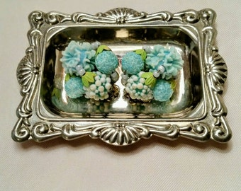Vintage Clip Earrings Beaded Clusters, Pretty Pastel Teal & Chartreuse, Japan 1940s - 50s
