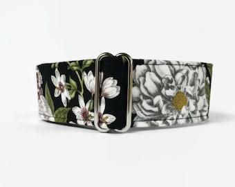 Martingale Dog Collar Black Botanical // Dog Lover Gift // Dog Accessories // Greyhound Collar // Sighthound Collar