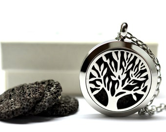 Tree of Life Lava Stone Stainless Steel Diffuser Necklace // Aromatherapy Necklace //- With Choice of Essential Oil