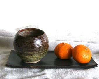Ceramic Round Yunomi Cup 250ml - Gold Green Brown