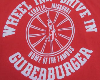 Vintage T-shirt Wheel Inn Drive In Sedalia Missouri Home of the Guberburger Red with White Graphic Large Fruit of the Loom BEST