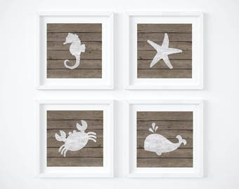Bedroom Nautical Wall Decor - Baby Room Nautical Art - Whale Wall Decor - Seahorse Digital Print - Starfish - Rustic Wall Art - Baby Room