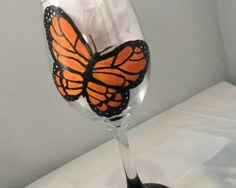 Butterfly Wine Glass (Personalization optional)