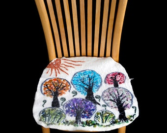 Seat cover for chairs (handmade), nuno felted, fine merino wool.