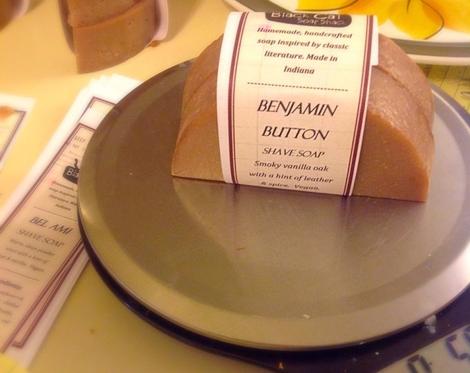 Benjamin Button Shave Soap - Book Soap, Handmade Soap, Natural Soap, Cold Process Soap, Handcrafted Soap