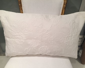 Pierre Frey white matelasse 15x25 pillow