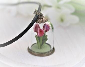 Flower Terrarium Necklace Flower Necklace Tulip Necklace Flower Bottle Necklace Tulip Pendant Clay Miniature Flower Necklace Floral Necklace