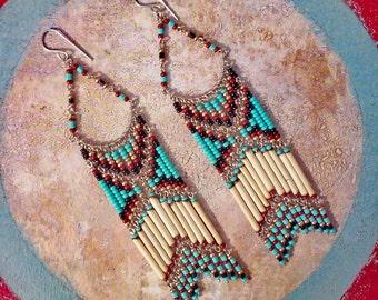 Native American Inspired Chandelier Earrings, Bohemian Earrings, Boho Earrings, Country Style