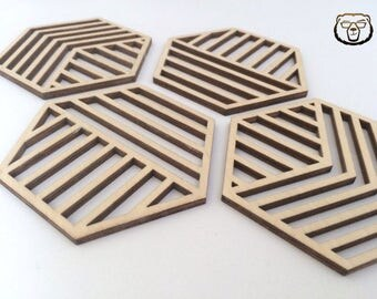 Geometric Wooden Coasters,Hexagonal Wood Coaster,Geometric coasters,Unique coasters,Wedding Gift ,Anniversary Gift,Table Decor,Kitchen Decor
