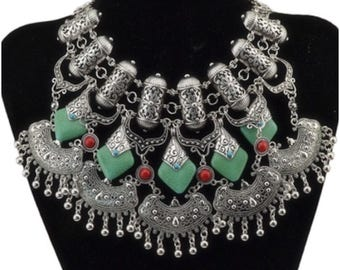 Bohemian/Turkish/Afghan Silver Blue, Green & Red Stoned Statment Necklace
