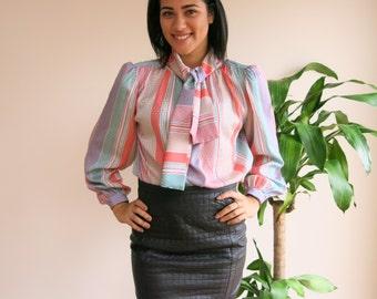 Candy Striped Secretary Blouse by Liz Clairborne | vintage 1980s