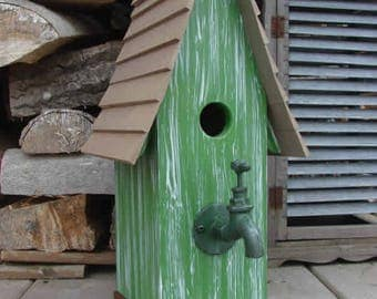 Faucet Green Bird House. Wooden Birdhouse, Painted Birdhouse, Outdoor Birdhouse, Rustic Birdhouse