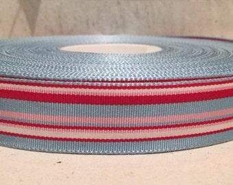 """7/8"""" (23mm) preppy Light blue/Red/Pink/White stripes grosgrain ribbon"""