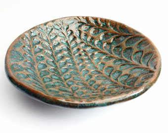 Ceramic /pottery small bowl with blue glaze impressed with textured pattern, perfect as a trinket dish, prep bowl or home decor