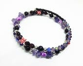 Amethyst memory wire bracelet Purple star bracelet boho bracelet gemstone bracelet beaded bangle Goth emo jewellery gift for her