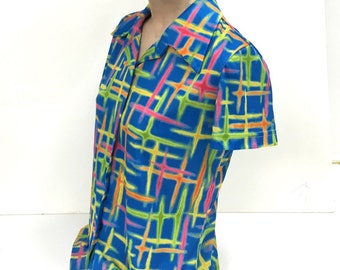 90's Vintage Neon Lasers Psychedelic Collared Shirt