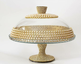 Gold cake stand, round cake stand, bling wedding centerpiece, personalized wedding gift, bling cake stand, cake pop stand , cake platform