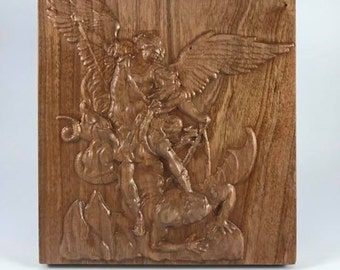 Saint Michael - Archangel Michael - Holy Michael - Patron Saint - St Michael - Catholic Gifts - Guardian Angel - Angel Woodcarving