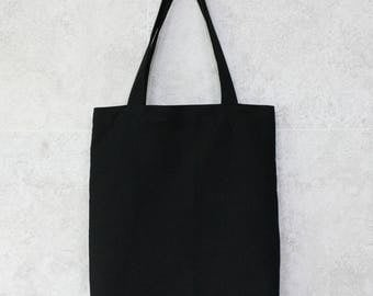 Black tote bag, black eco bag, black canvas bag, black shoulder bag, black bag,tote bag black