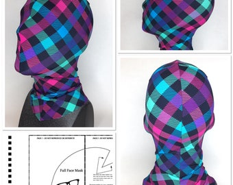 Full Face Mask / Hood Pattern - Digital Download - One Size Fits Most | Zentai | Superhero | Spandex | Lycra