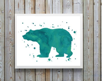 Bear art, nursery art,,forest,wildlife,grizzly,canadian ,bear decor,watercolor,Green,Printable,digital