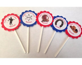 Western /Cowboy/Wildwest Customized Cupcake Toppers /Picks 12 Count