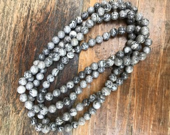 Grey Jasper Beaded Double Wrap