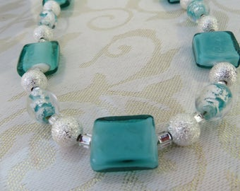 Turquoise green/silver necklace