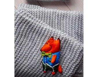 Stylish fashion accessory brooch, art brooch, textile brooch, brooch stylist, hahdmade brooch, Fox brooch, fashion brooch, animal brooch